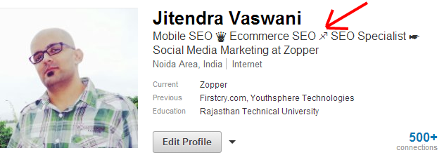 Your Profile LinkedIn wingdings text