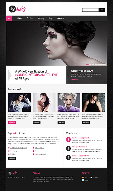 Classics of Fashion Model Agency WordPress Theme