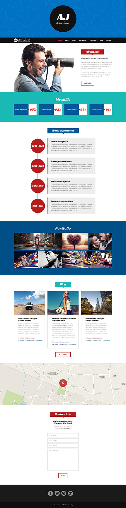 Page of Fashion Photographer WordPress Template