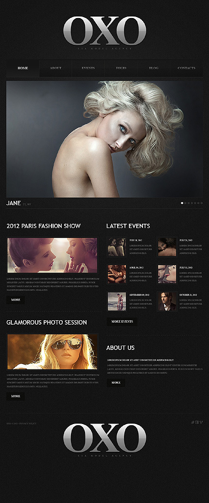 Sleek and Glamorous Model Agency Responsive WordPress Template