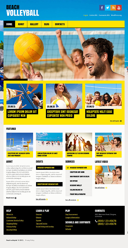 Summer Burst - Flat Volleyball WordPress Theme