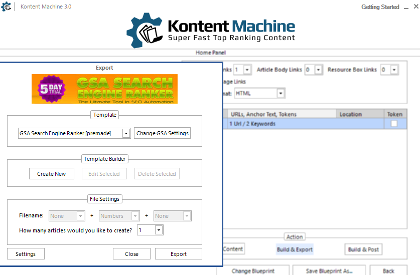 kontent machine import