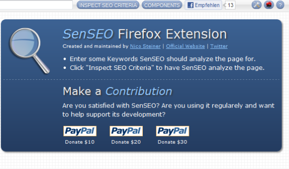 SenSEO Add ons for Firefox