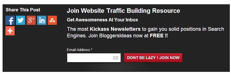 Subscription box  below posts  in wordpress blogs