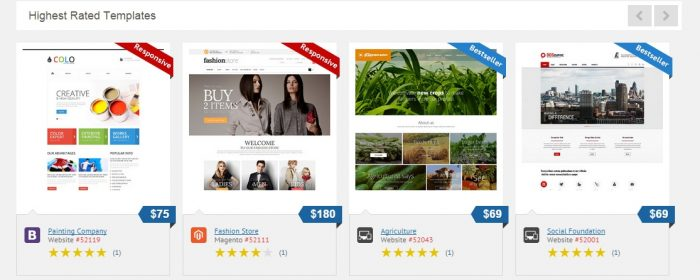 Highest Rated Templates at TemplateMonster.