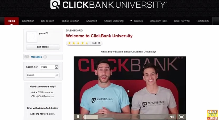 clickbank university member areas
