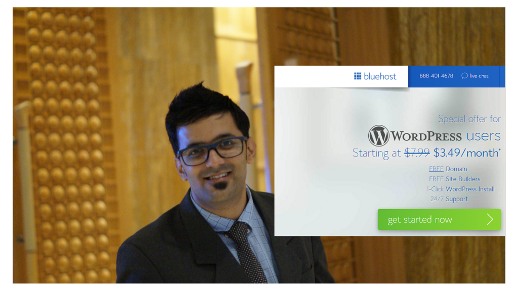 Jitendra Vaswani Bluehost wordpress hosting deal