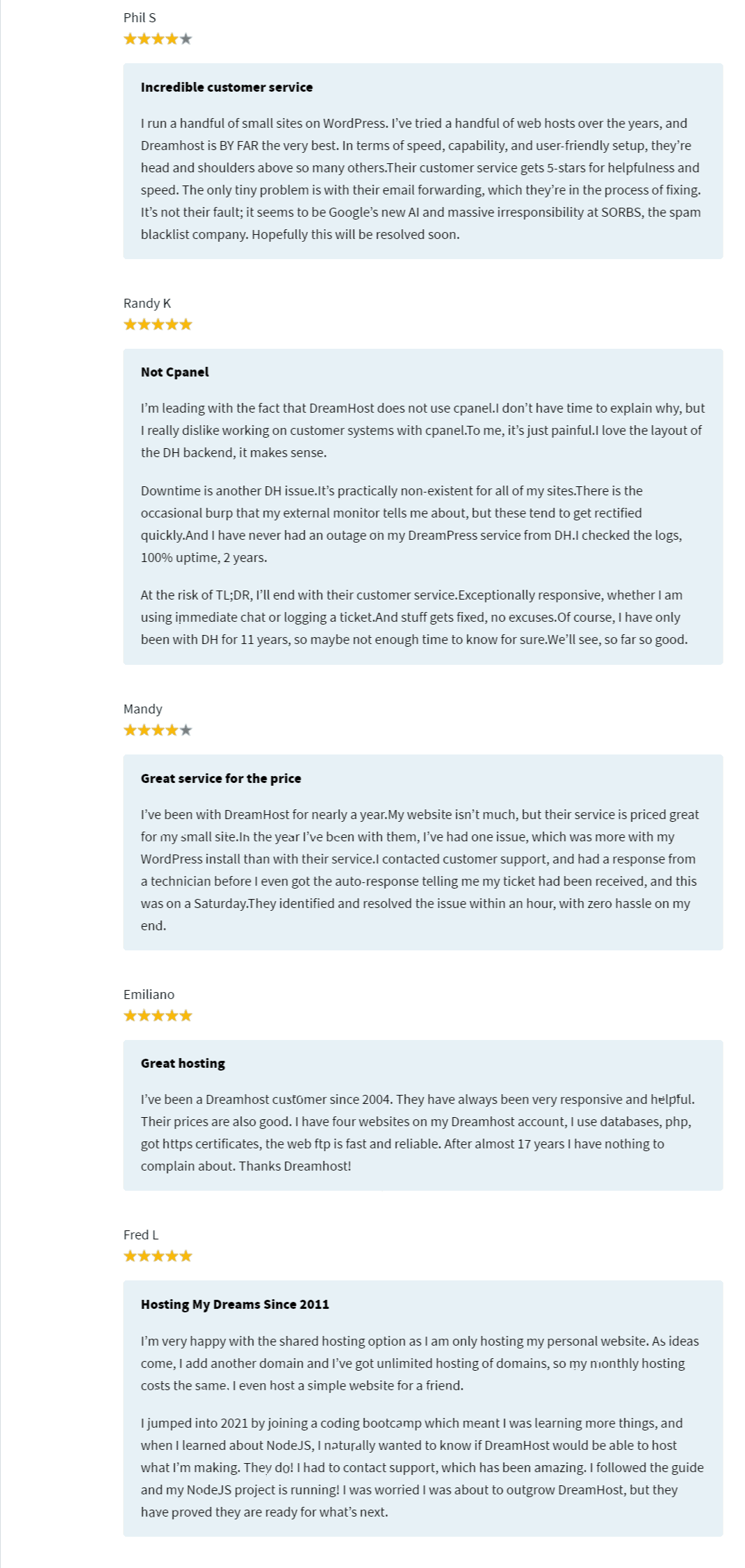 DreamHost customer Review