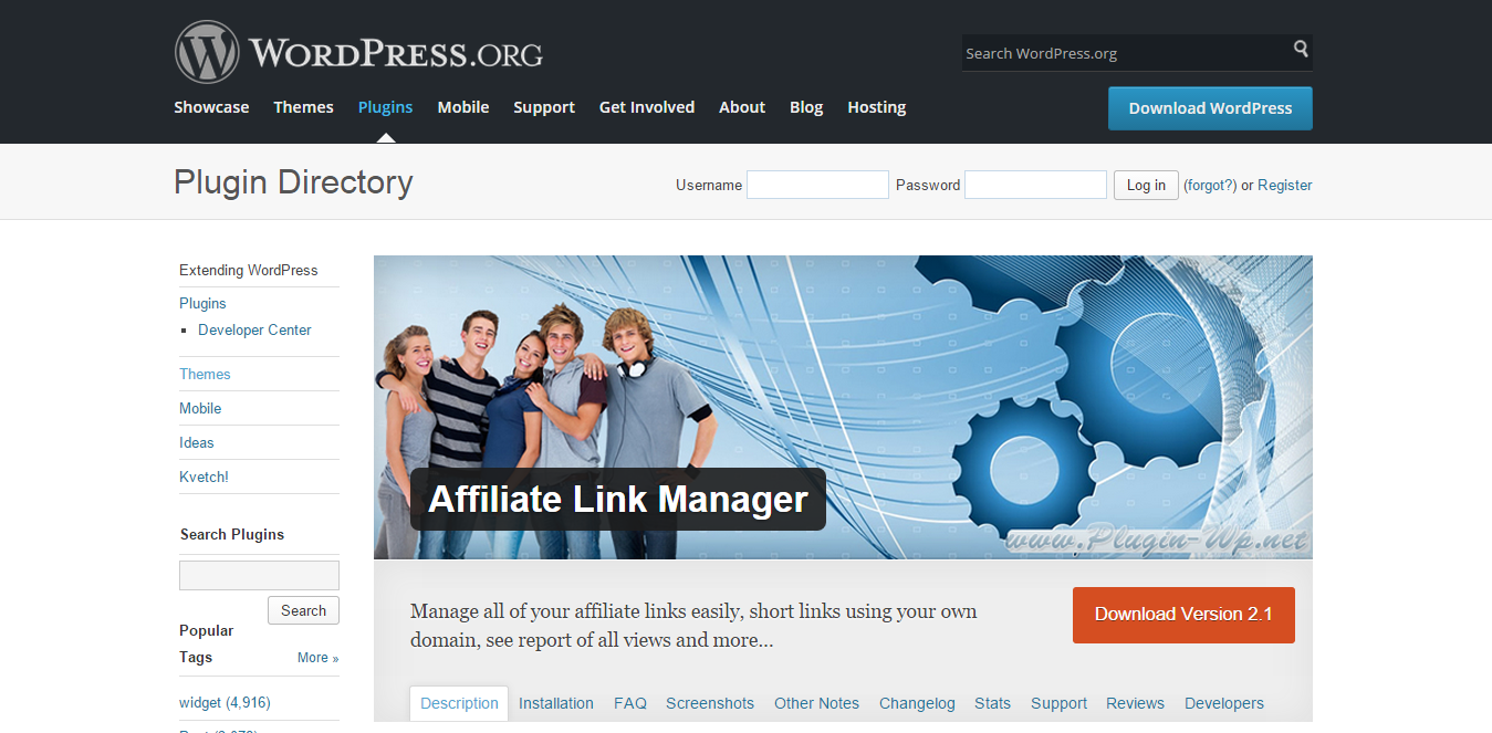 WordPress affiliate link manager