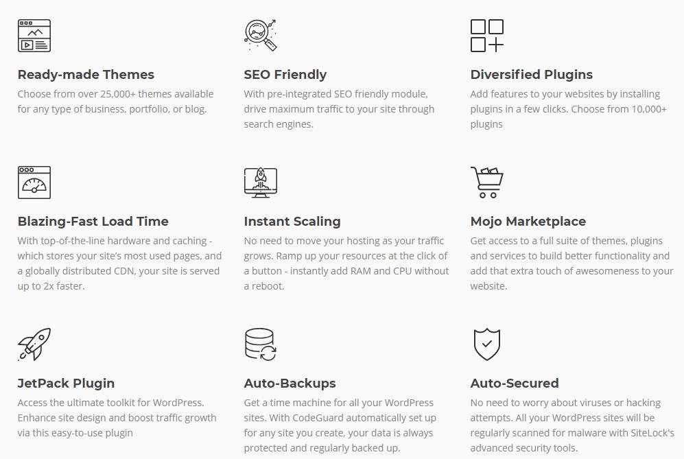 bigrock india coupons- wordpress features