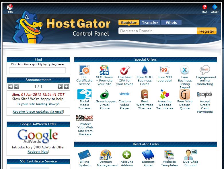 hostgator control panel