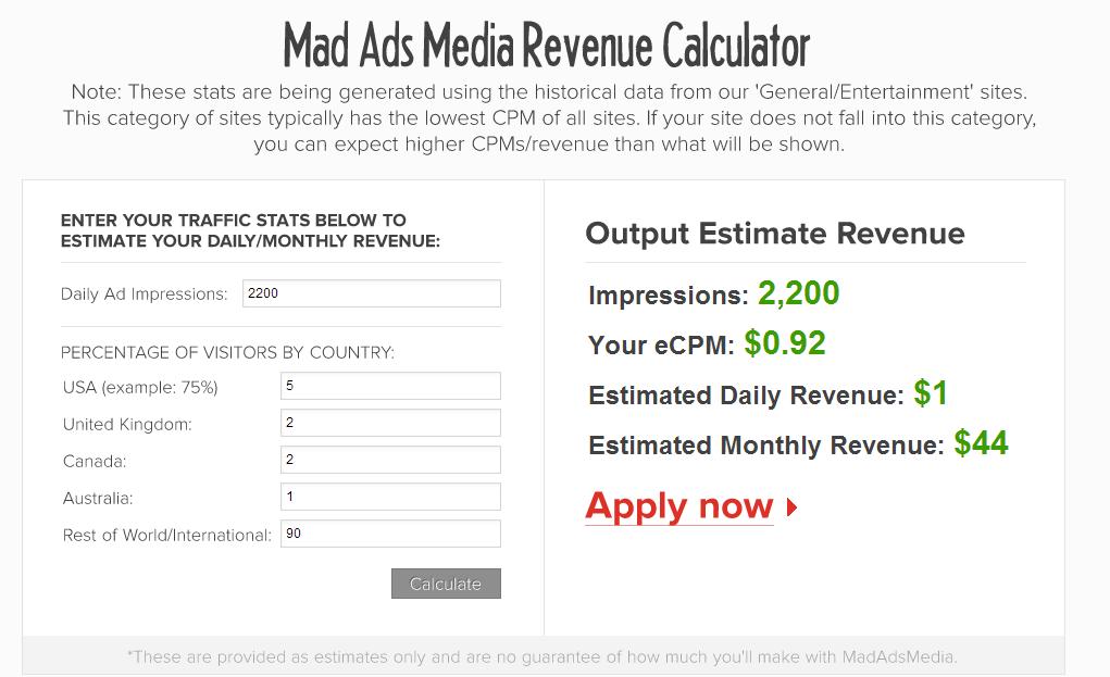 MadAdsMedia review- revenue calculator