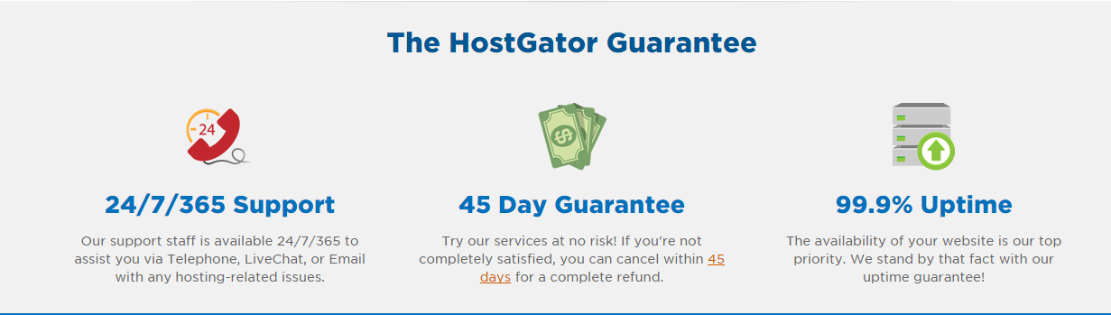 HostGator Guarantees