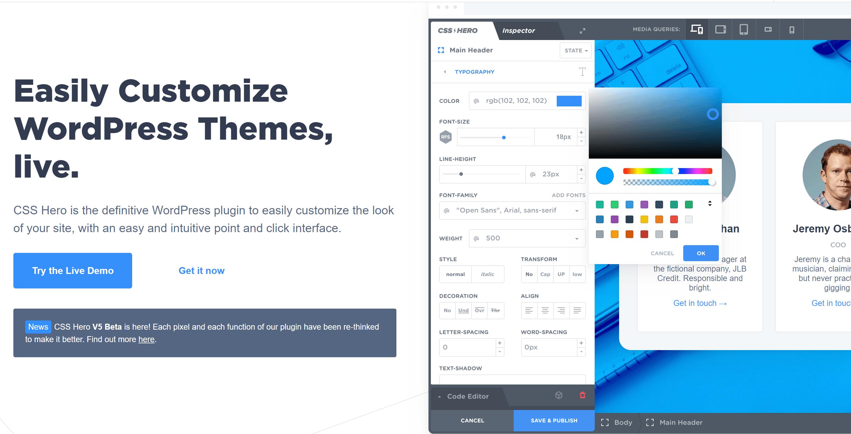 CSS hero customize themes
