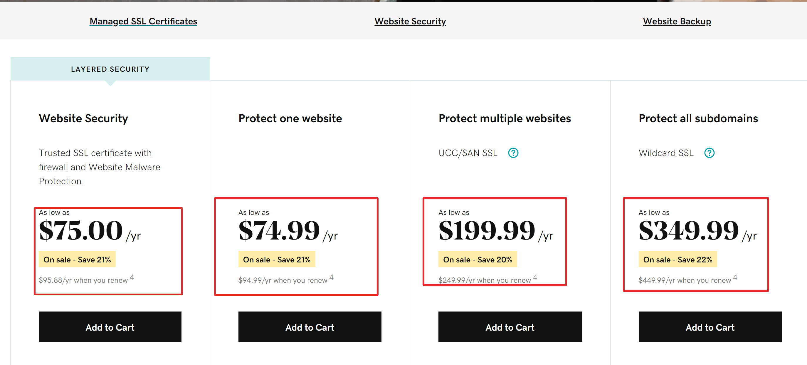 Godaddy SSL offers
