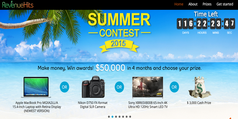 Win Huge $$$$$ Prizes with RevenueHits Summer Contest 2015