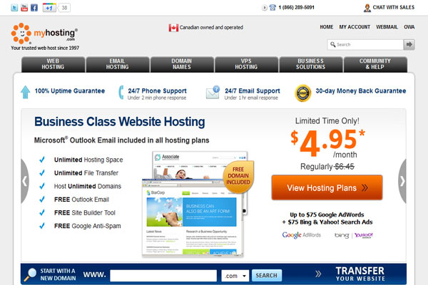 myhosting- Web Hosting Providers In Canada/Toronto