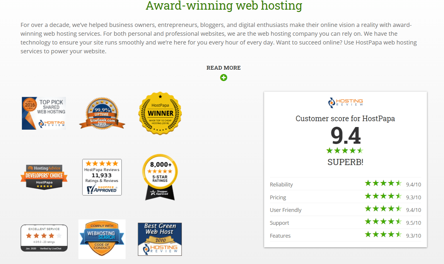 Award winning Webhosting- Hostpapa Review
