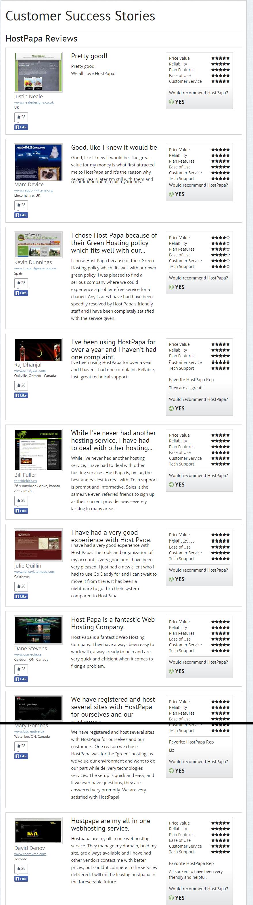 HostPapa Customer Success Stories