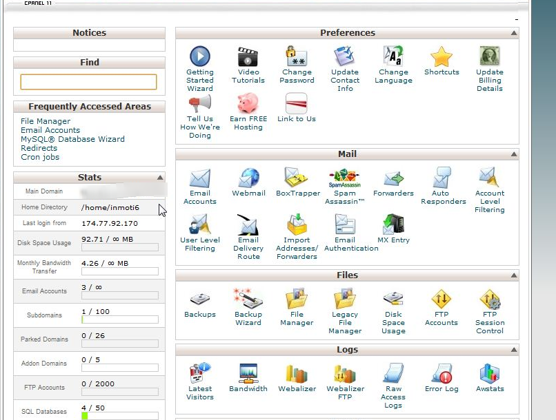 Inmotion hosting cpanel