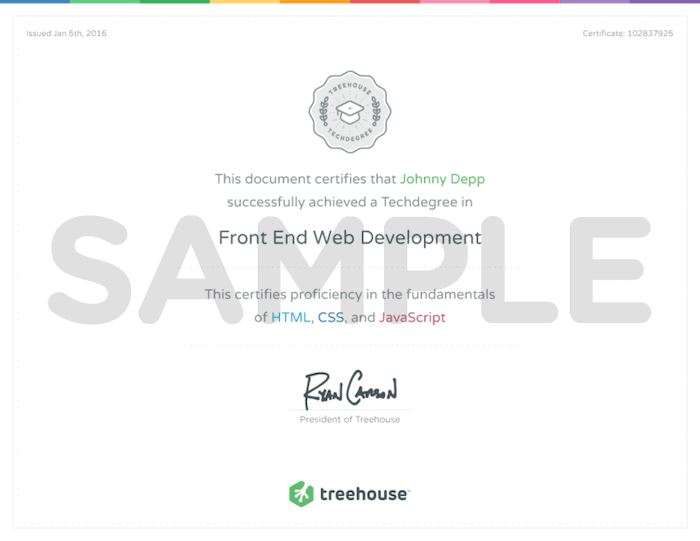 Treehouse sample certificate
