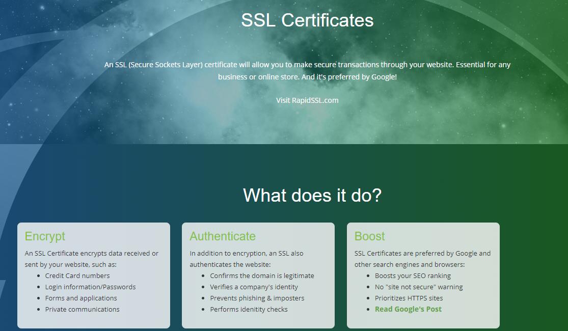 webhosting pad- SSL certificates
