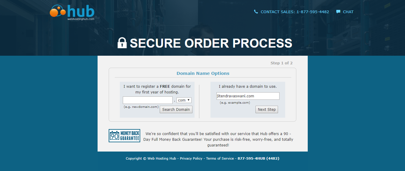 web hosting hub- secure order