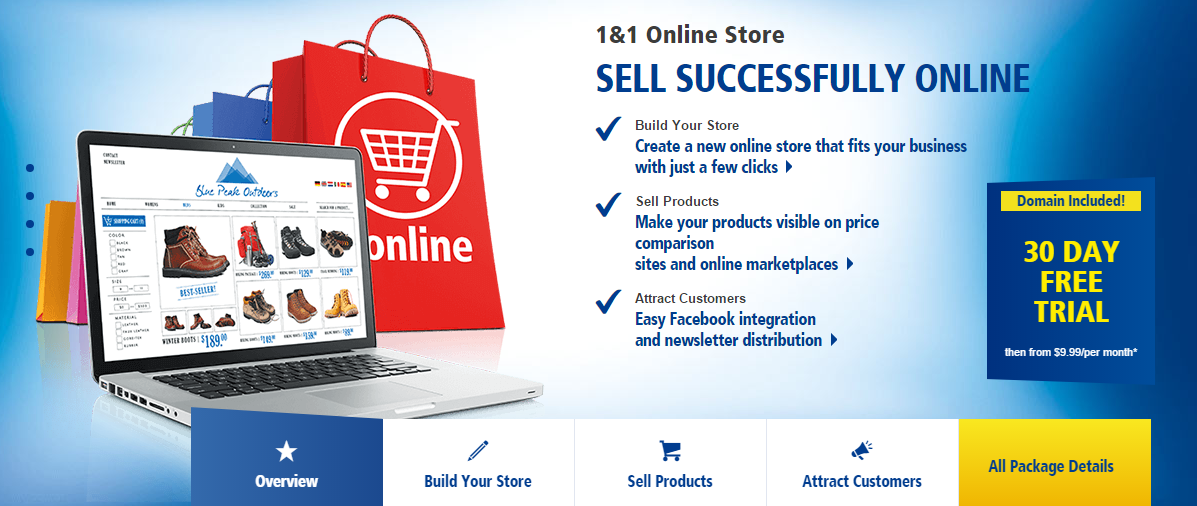 1and1 Online Store Website