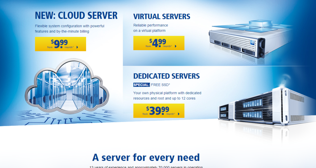 1and1 Server packages