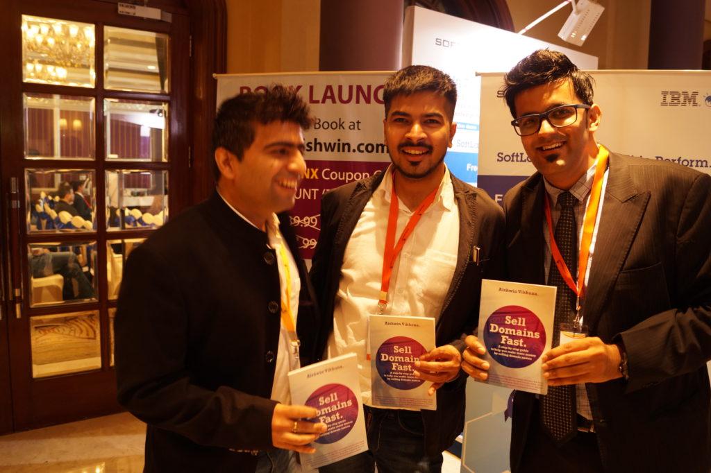 Anshul Goel, Aishwin Vikhona and me at domainx bangalore 2015
