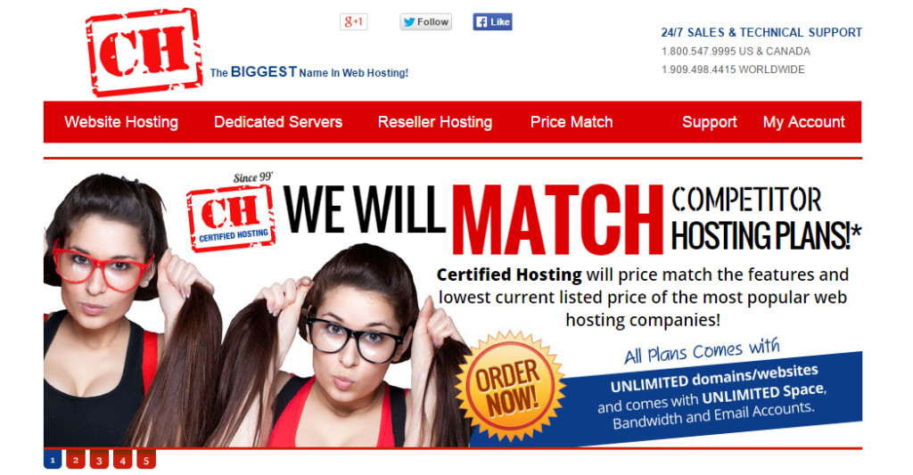 Certified Hosting Pricematch feature