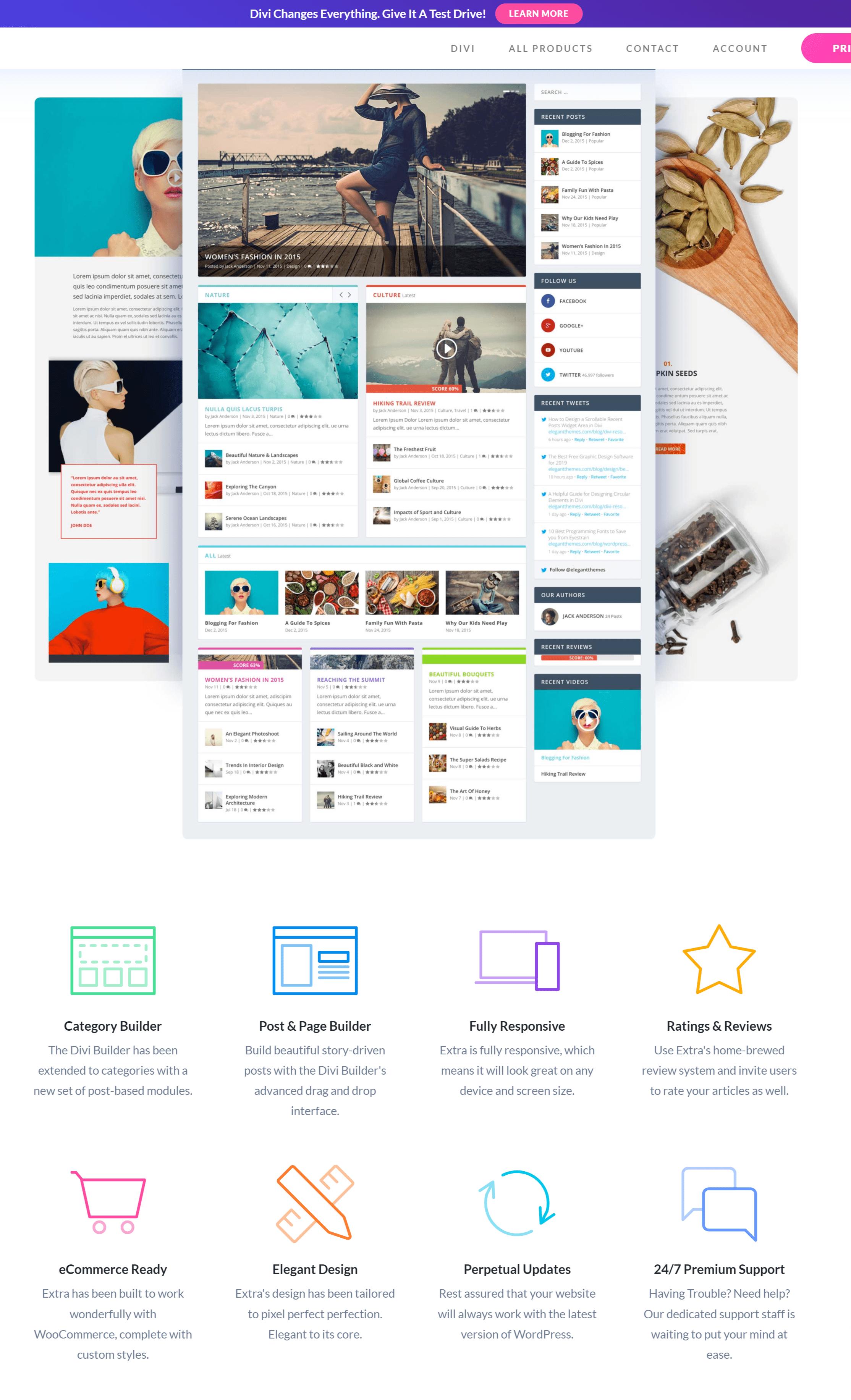 Extra Drag & Drop Magazine WordPress Theme Elegant Themes