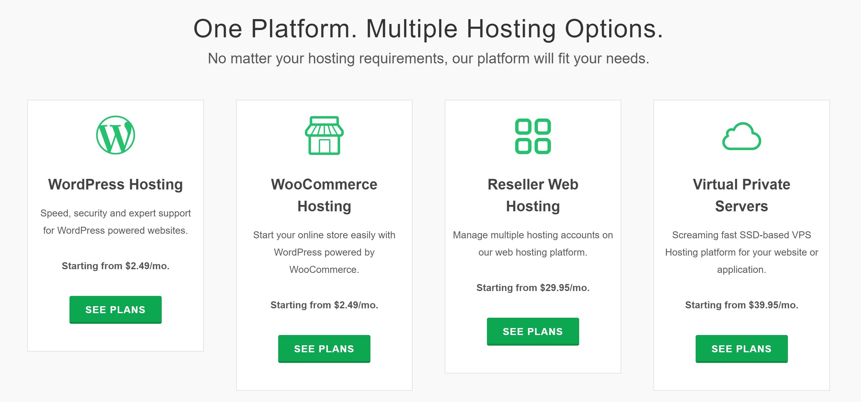 Greengeeks Hosting options