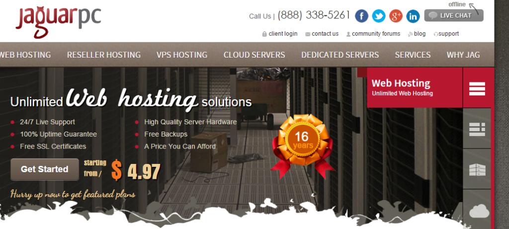 JaguarPC Web Hosting VPS Hosting Reseller web hosting Dedicated Servers