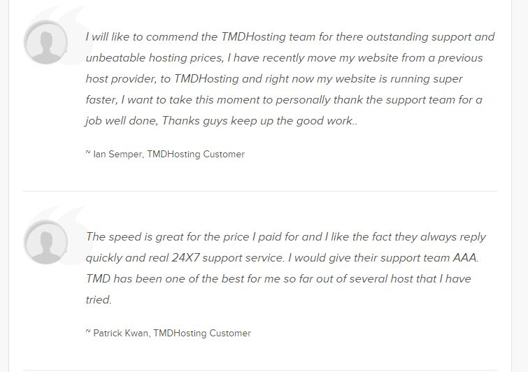 TMDHosting customer testimonial review