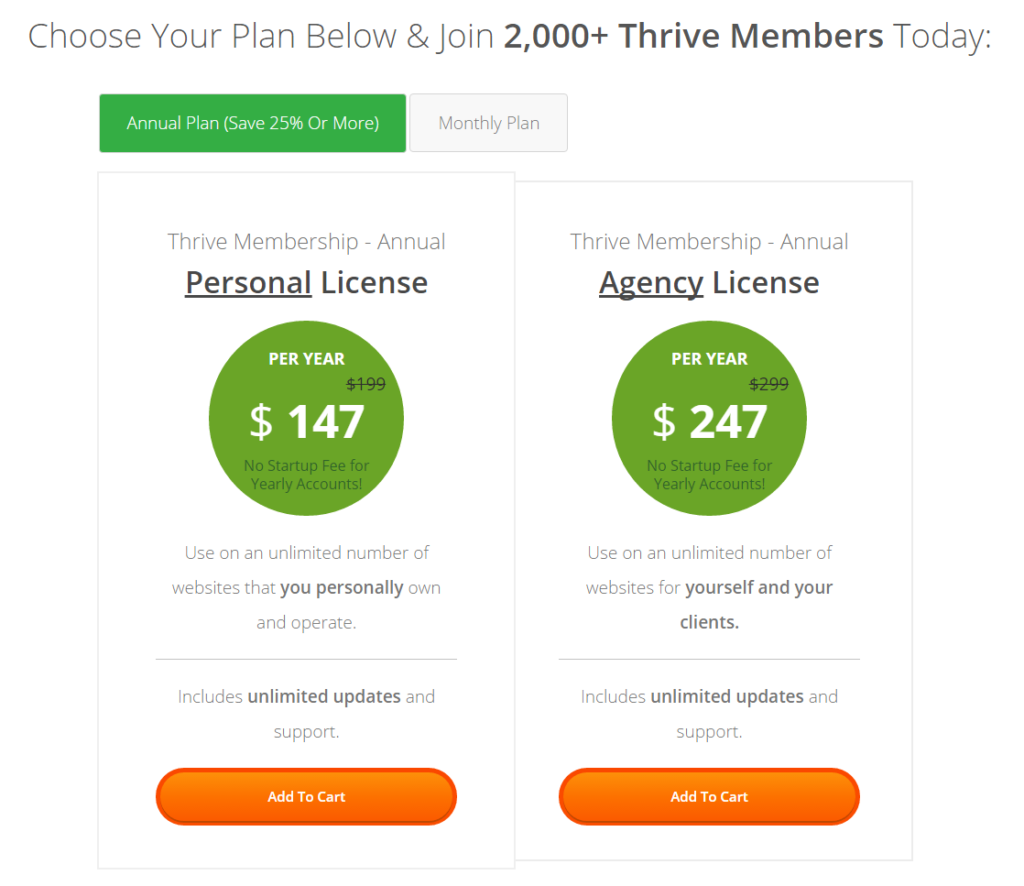 Thrive Membership Pricing Information