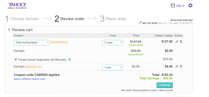 Yahoo Small Business Review Order