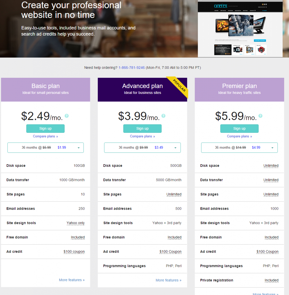 Yahoo Small Business Web Hosting Promo code