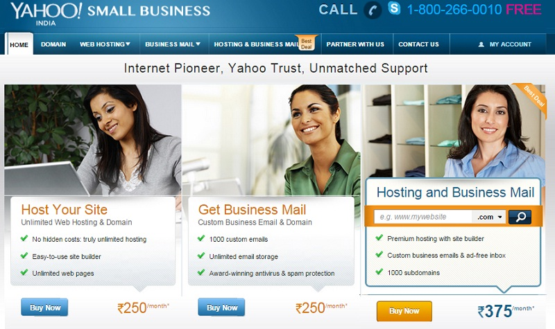 Yahoo hosting review homepage