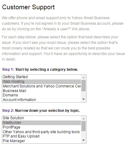 Yahoo hosting service customer support