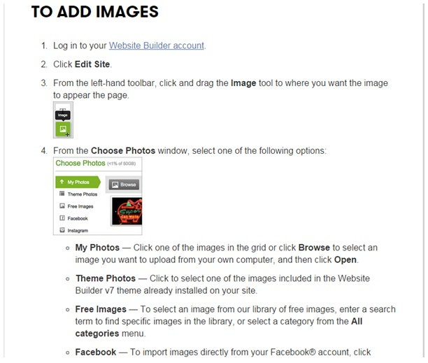 GoDaddy review adding images