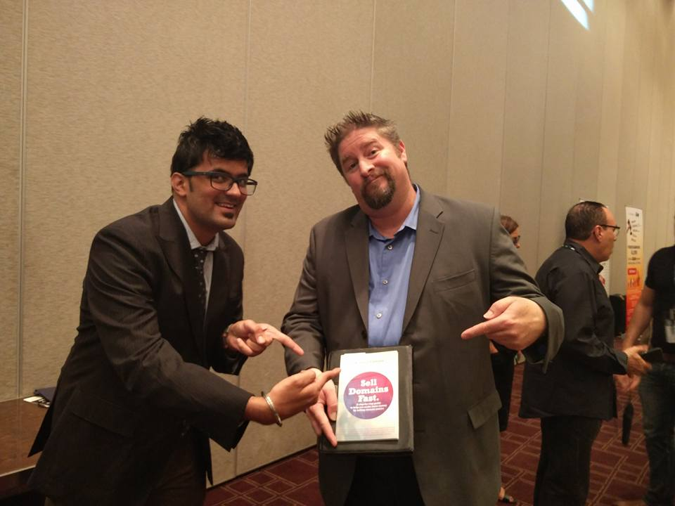 Jitendra Vaswani and Jothan Frakes promoting Aishwin's Book Sell Domains Fast