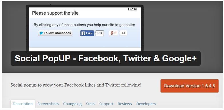 Social Popup WordPress Plugin