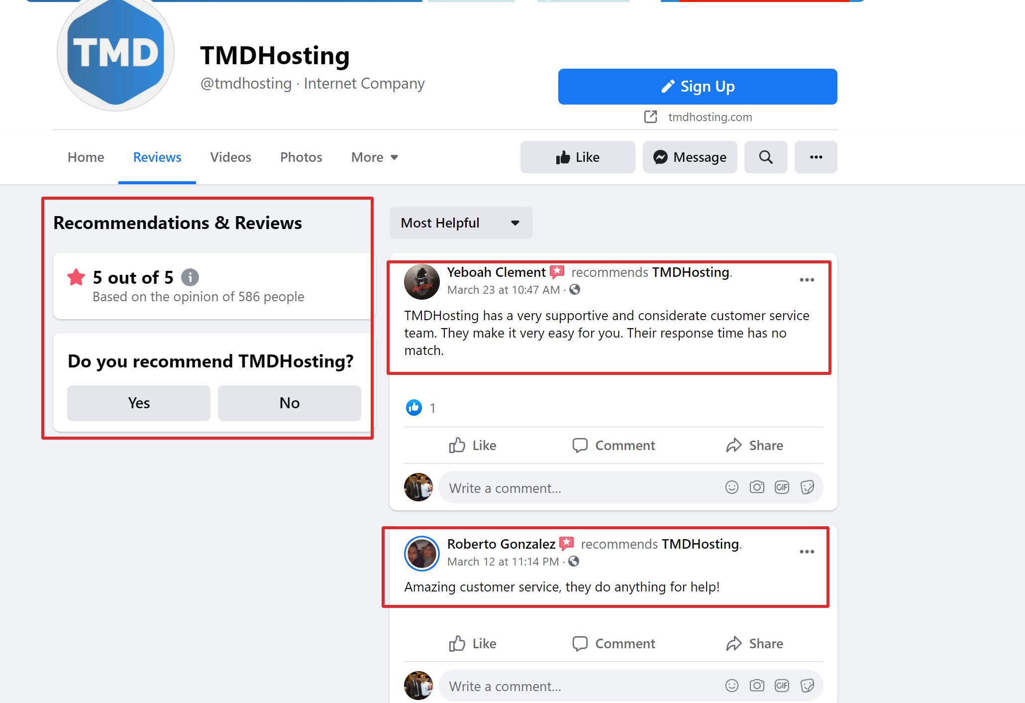 TMDhosting testimonials
