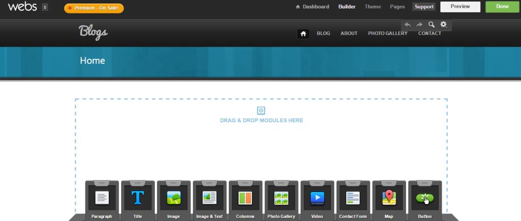 Webs SiteBuilder Dashboard