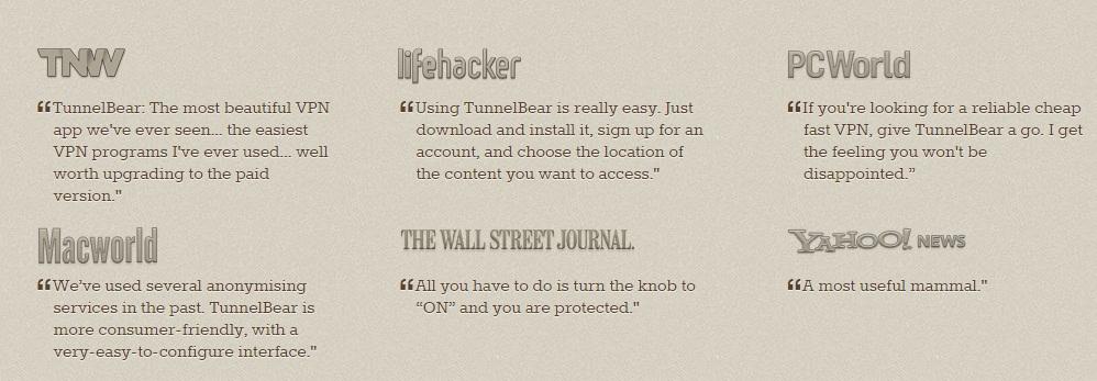 TunnelBear review ciustomer testimonial