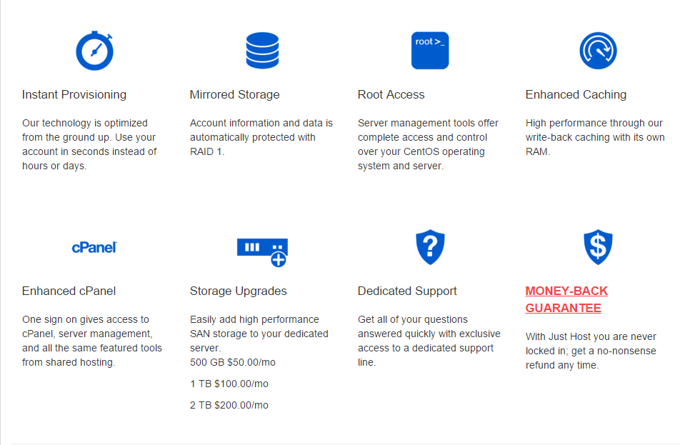 Just Host Dedicated Hosting features