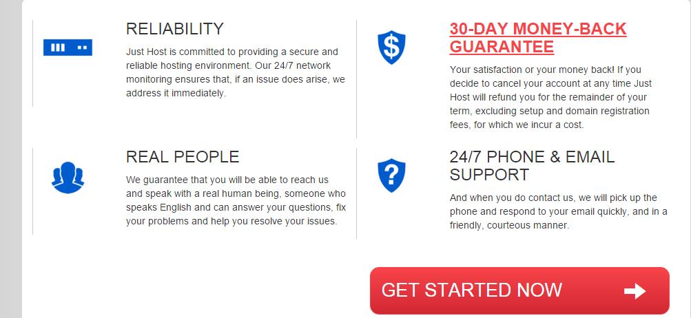 Just Host Web Hosting Guarantees