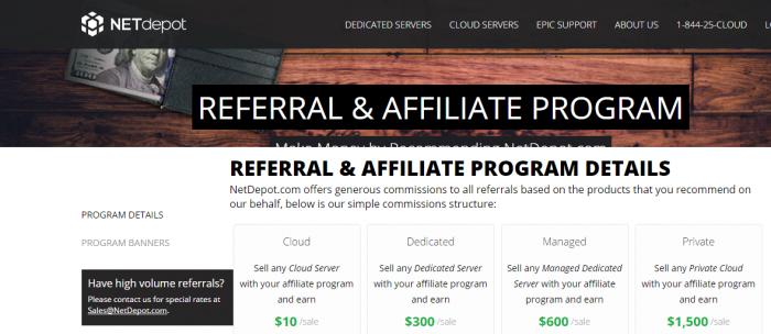 NetDepot Dedicated Cloud Server Affiliate Program
