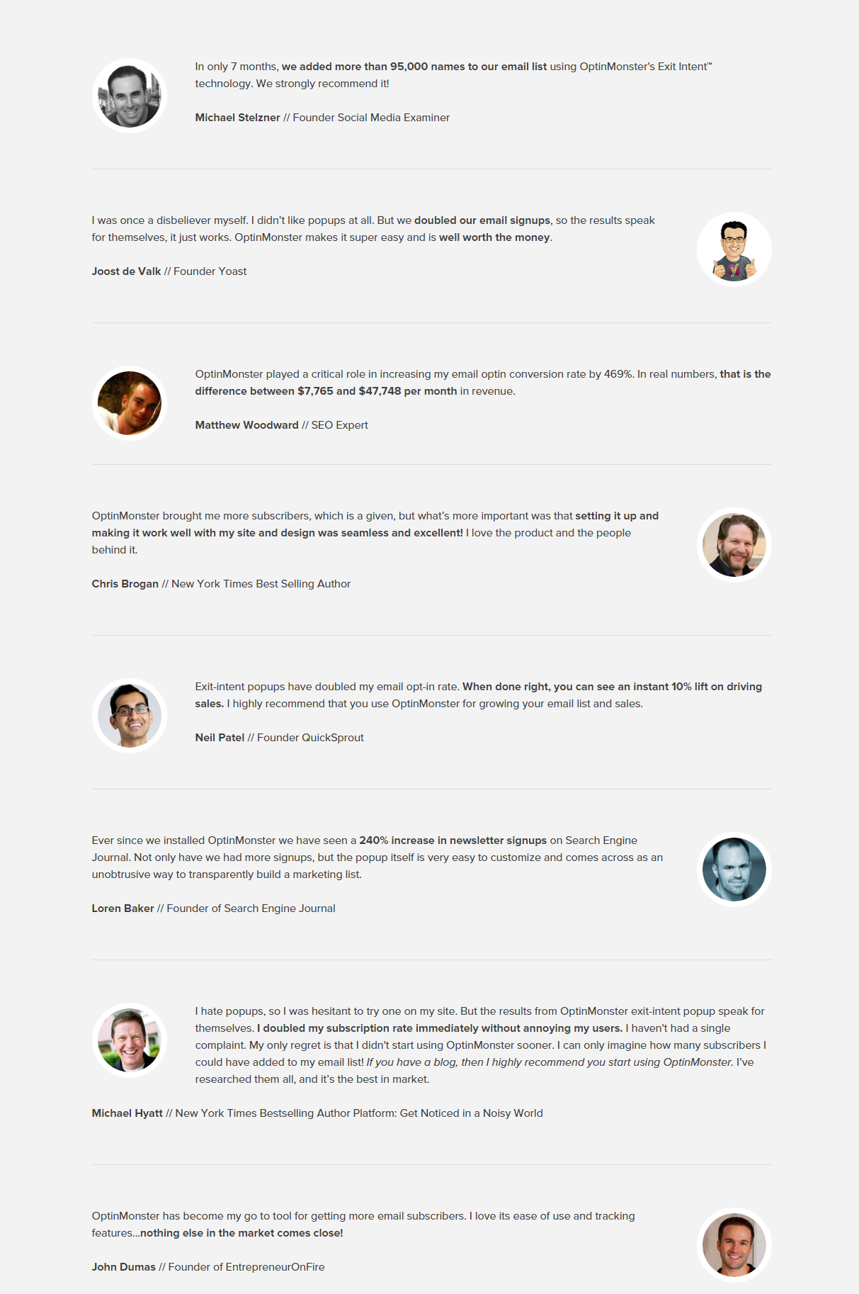 OptinMonster Customer Reviews Testimonials
